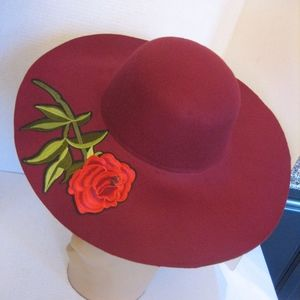 Maroon Floppy Hat with Stitched Red Rose Sz OS NW
